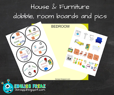 House and furniture dobble, room boards and pics