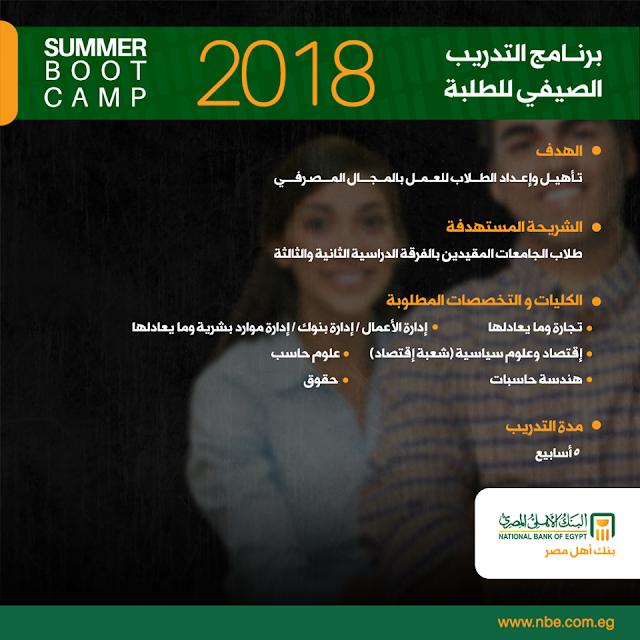 برنامج التدريب الصيفى للطلبة 2018 البنك الأهلى المصرى