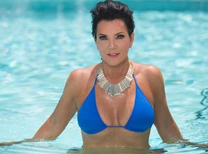 Kris Jenner, the mother of Kim Kardashian shows her breasts in a bikini!