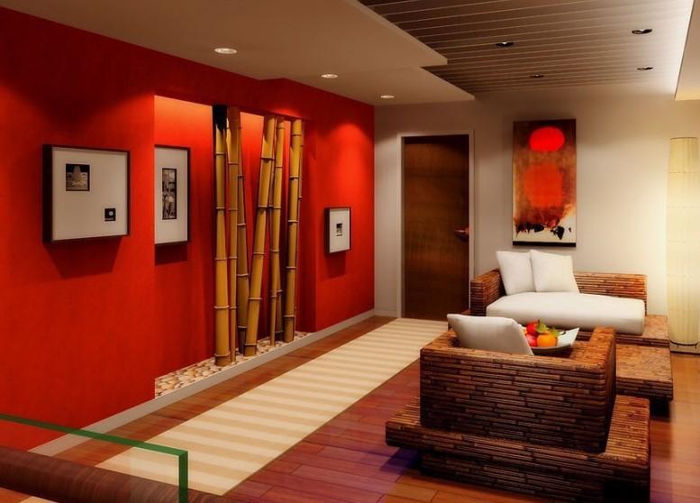 Wohnzimmer Gestalten Rote Wand Mit Bambus Wohnidee Wohnen Und