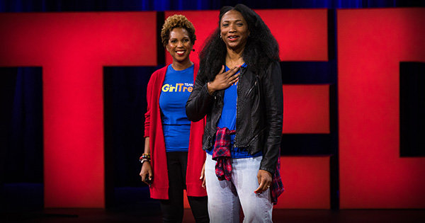 Black women delivering inspiring TED Talk