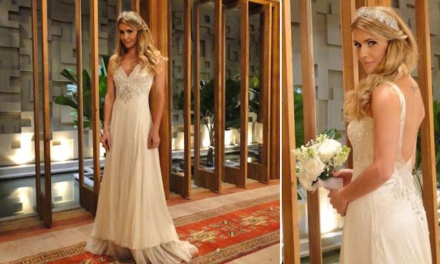 Debora Secco como Natalie La Mour, vestido de noiva, Lethicia Bronstein
