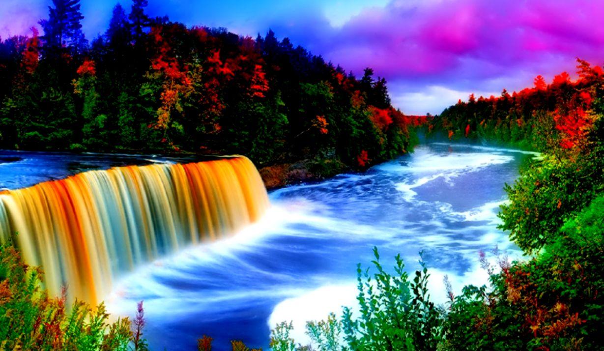 Rainbow Beautiful Waterfall Wallpaper Wallpapers Simple
