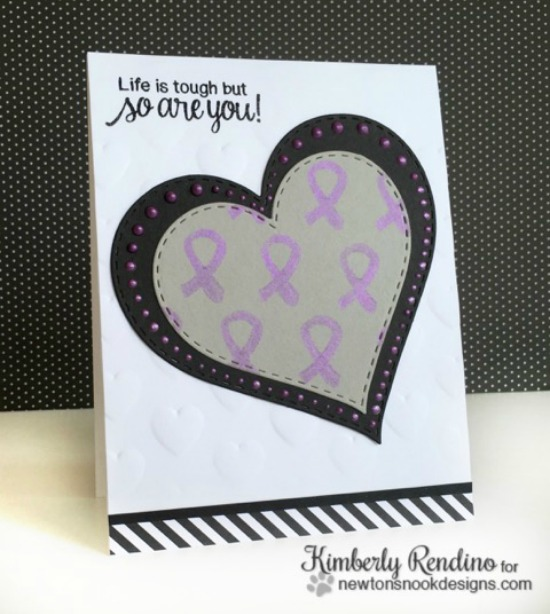 Purple ribbon card by Kimberly Rendino |  Newton's Support stamp set by Newton's Nook Designs #newtonsnook