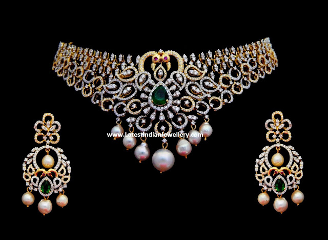 Peacock Diamond Choker Chandbalis