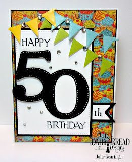 Our Daily Bread Designs Stamp Set: Celebration, Custom Dies:Large Numbers, Pierced Rectangles, Pennant Row, Pennant Flags, Double Stitched Pennant Flags,Paper Collections:  Birthday Bash, Birthday Brights