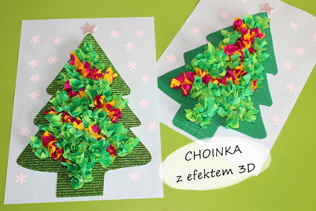 Christmas Tree made of tissue paper made our favorite method ... for a pencil giving a beautiful 3D effect 🎄🎄🎄