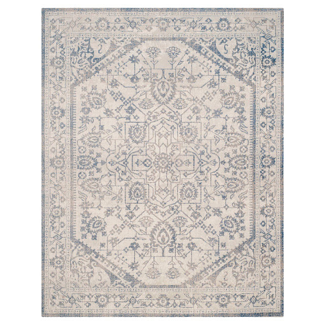 I love farmhouse style, the color blue, and cushy rugs! Here are ten of my favorite blue rugs. All of them perfect for creating that farmhouse style! This one has a vintage look.