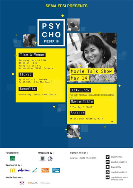 Psychofiesta 2016 : Movie Talkshow di universitas yarsi jakarta