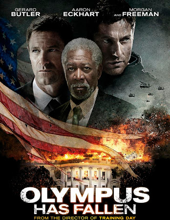 Poster Of Olympus Has Fallen In Dual Audio Hindi English 300MB Compressed Small Size Pc Movie Free Download Only At worldfree4u.com