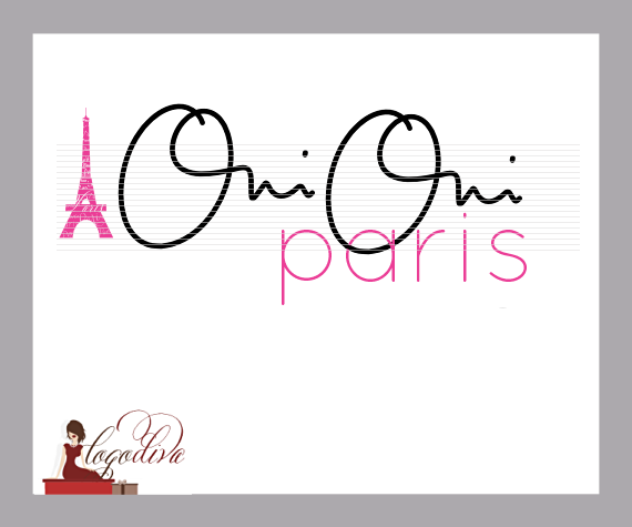 Handwritten Signature Logo - Oui Oui Paris and Eiffel Tower by Logo Diva