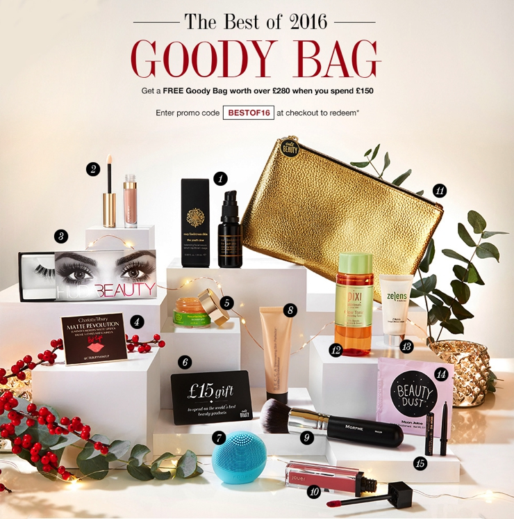 Here are the contents of the Cult Beauty Best of 2016 Goody Bag (ships worldwide).