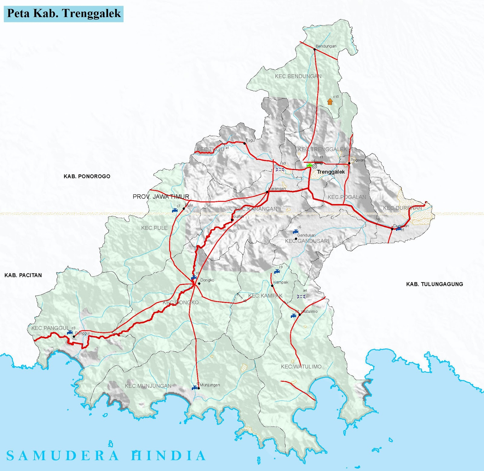 Peta Kabupaten Trenggalek HD