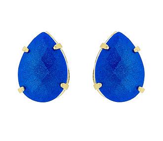 Comprar Brinco Folheado a Ouro com Pedra cabochão acrílica em forma de gota na cor azul