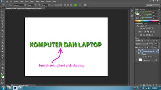 membuat efek teks bayangan di photoshop