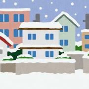 雪が降る住宅街のイラスト(背景素材)