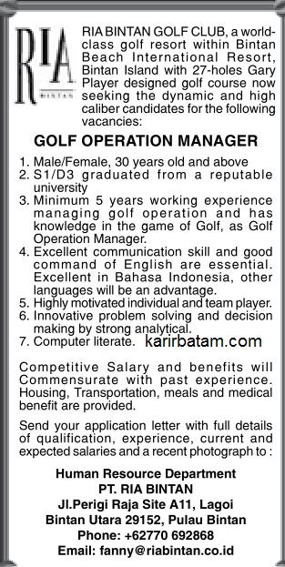 Lowongan Kerja PT. Ria Bintan