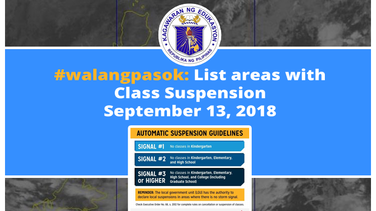 Walangpasok List Areas With Class Suspension September