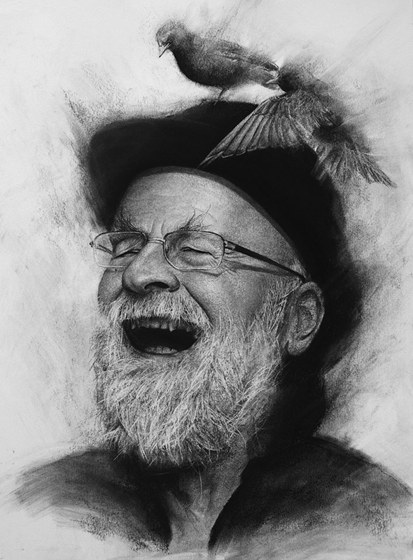 01-Terry-Pratchett-Liu-Ling-Faces-of-Writers-in-Charcoal-Drawings-www-designstack-co