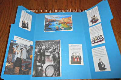 Inside the back portion  of Handel Lapbook; Music Program #hsreviews at Circling Through This Life