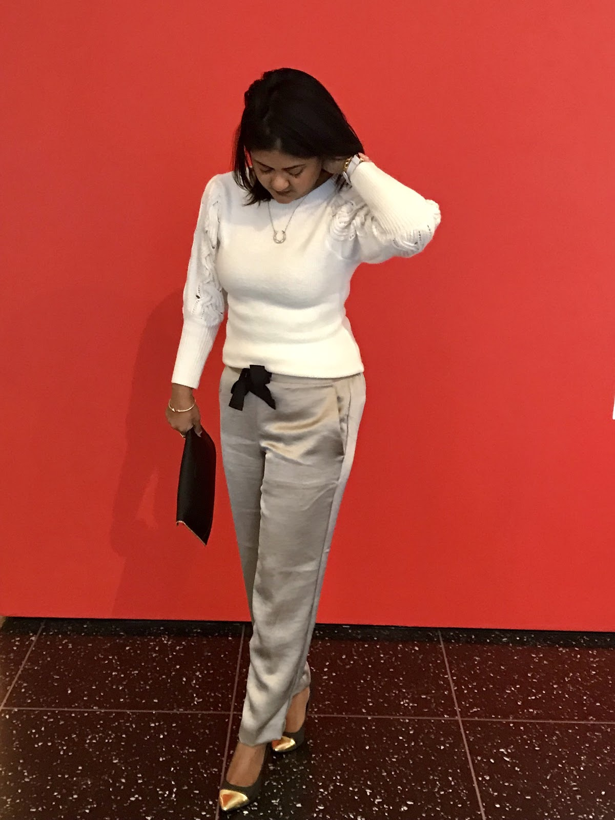 Ann Taylor satin pants and cable knit sweater