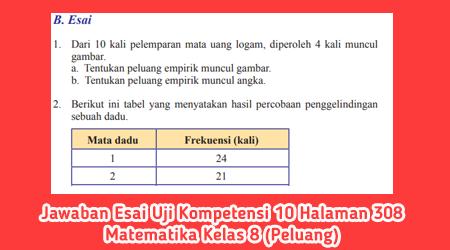 Jawaban Esai Uji Kompetensi 10 Halaman 308 Matematika Kelas 8 (Peluang)