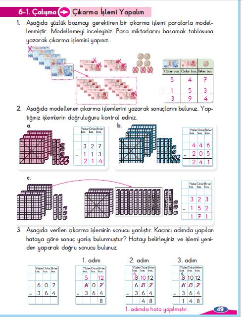 3. Sınıf Berkay Yayınları Matematik Çalışma Kitabı 49. Sayfa Cevapları Çıkarma İşlemi Yapalım 6-1. Çalışma