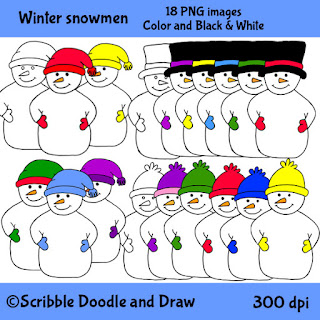 Winter snowmen wearing hats and gloves clip art