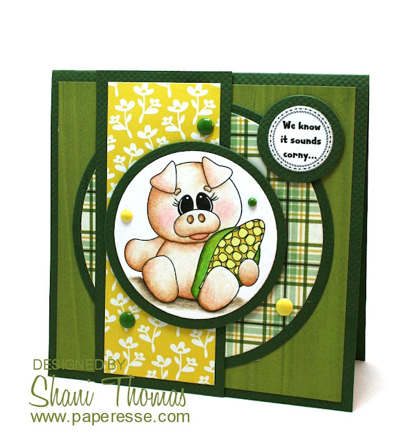 Happy Summer card featuring Digi Web Studio Porky's Backyard BBQ digistamp, by Paperesse.
