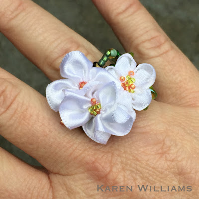 Karen Williams' Apple Blossom freeform peyote ring, worn