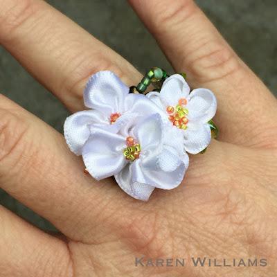 Karen Williams' Apple Blossom freeform peyote ring, worn