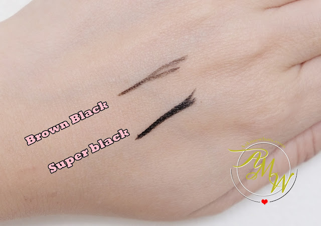 a swatch photo of K-palette 1Day Tattoo Real Strong Water Proof Eyeliner review in Super Black and Brown Black .