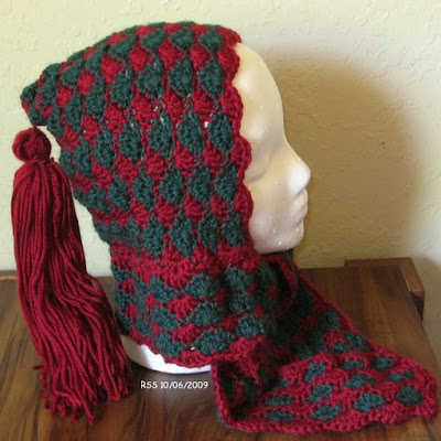 Red and Green Tasseled One-Piece Hood and Scarf - Hand-Crocheted by RSS Designs In Fiber - Sold