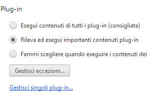 chrome disabilita flash