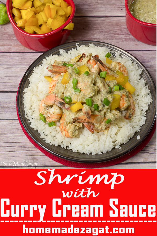 Shrimp with rice and mangoes and sauce