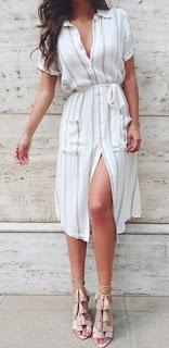 Imágenes Tendencias Moda Mujer Instagram Primavera Verano vestido camisero largo rayas