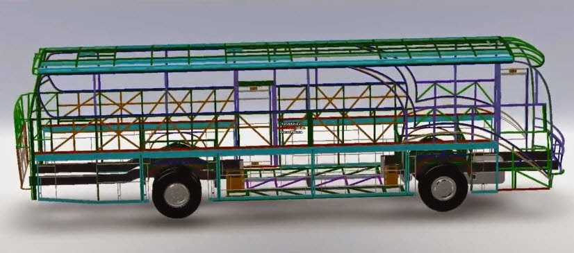 Solid Works Bus Structure Design Animation Solidworks Share