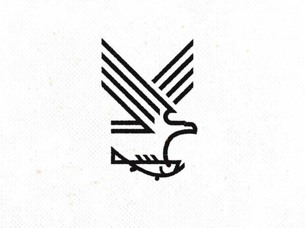 Inspirasi Desain Logo Monoline 2017 - Eagle 2 Monoline Logo