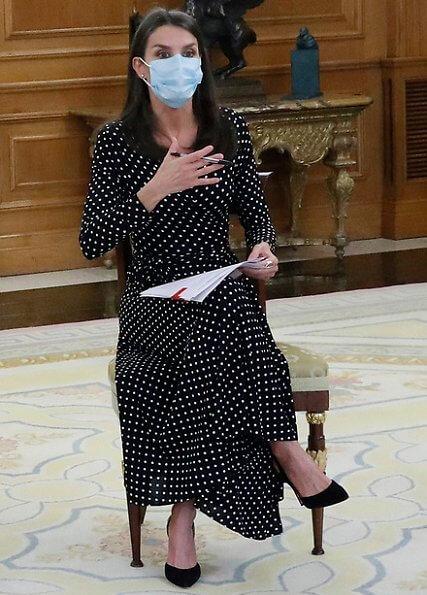 Queen Letizia wore a polka dot silk shirt dress by Carolina Herrera