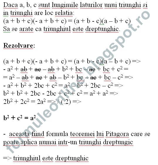calcul algebric teorema lui pitagora