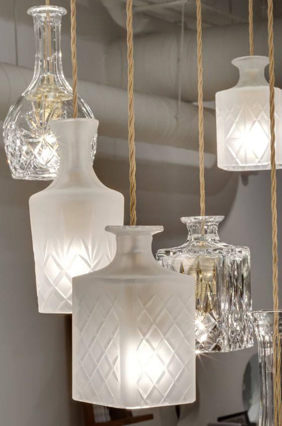 L mparas con botellas de vidrio recicladas construccion - Manualidades con lamparas ...