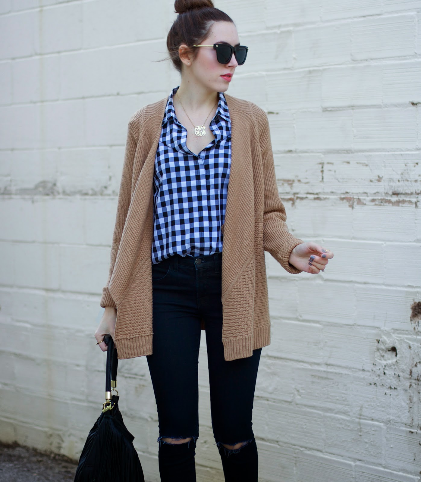 gingham-print-shirt-tan-cardigan