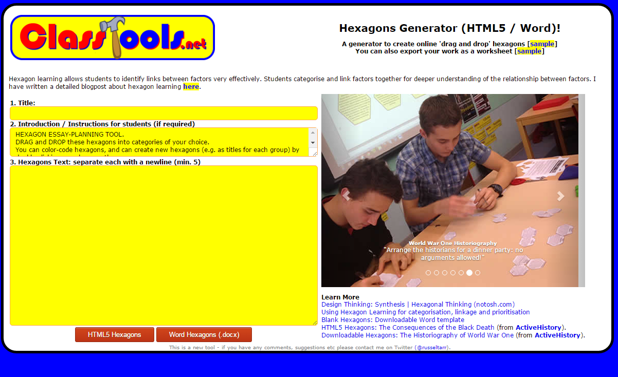 Free Technology for Teachers: Hexagon Learning Template