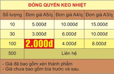 Bảng giá dán keo nhiệt - Đóng sách giá rẻ Hà Nội