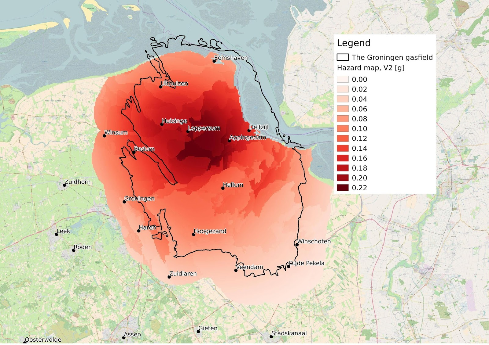 Seismological hazard map of Groningen (Netherlands)