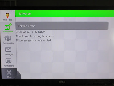 Miiverse server error 115-5004 when it discontinued ended