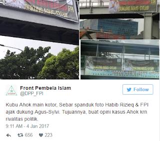 Nah Loh .. FPI Bantah Pasang Spanduk Jihad Dukung Agus-Sylvi