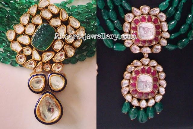 Kundan Pendant with Emerald Beads