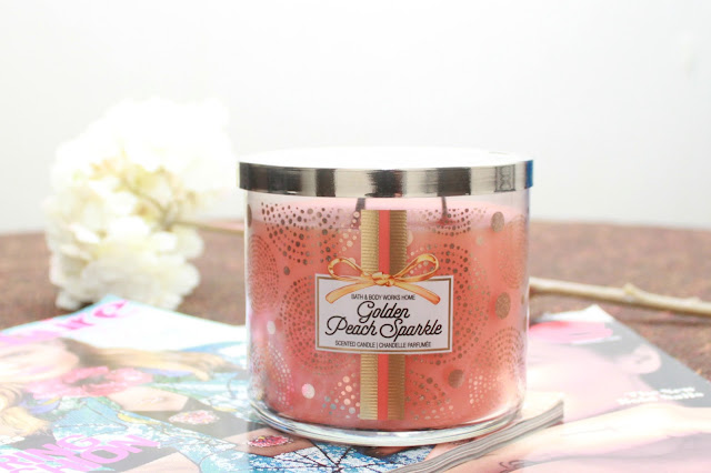 BATH & BODY WORKS GOLDEN PEACH SPARKLE CANDLE