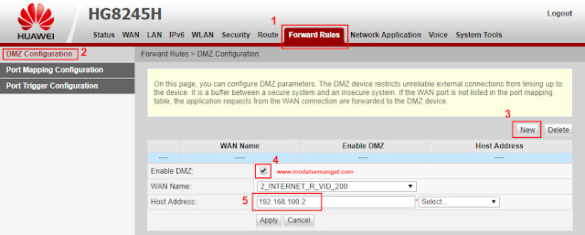 Cara Setting DMZ Forward Modem Indihome